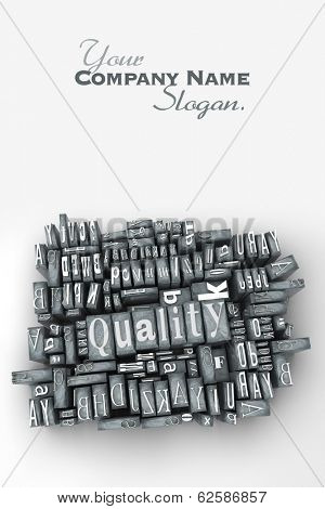 The word quality written in print letter cases