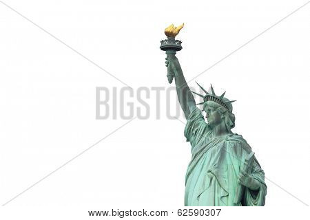 The Statue of Liberty isolated on white, New York City