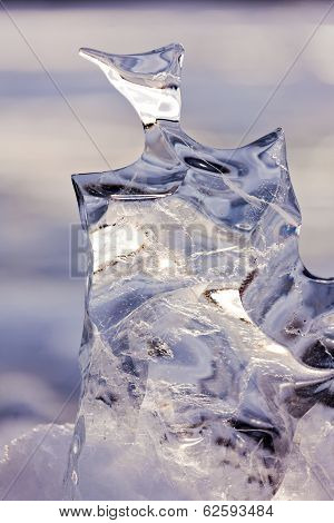 Frozen Abstract Ice Sculpture Nature Thaw Carved