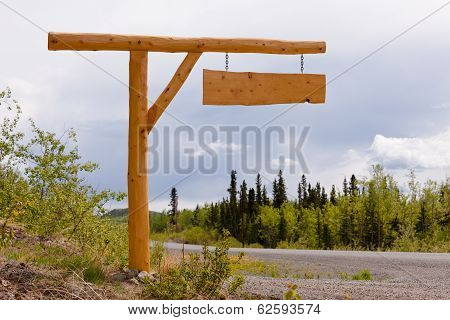 Rural Country Road Driveway Wooden Sign Board