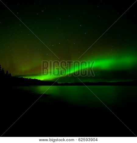 Dark Night Sky Northern Lights Illuminated