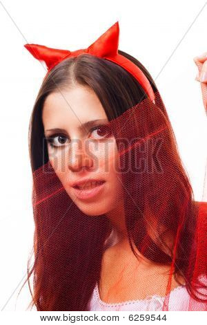 Woman With Horns Flirting