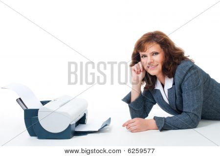 Business Woman With Printer