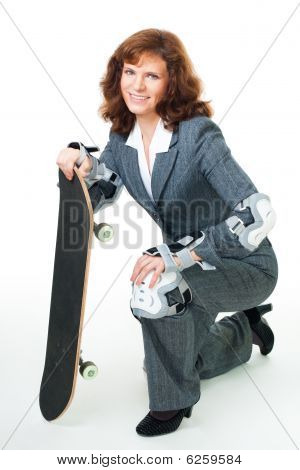 Bussiness Woman With Skate