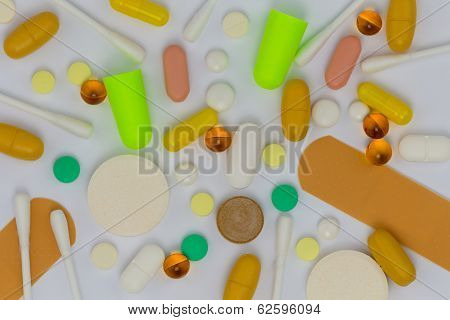 Pill Capsules And Cotton Swabs