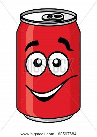 Red cartoon soda or soft drink can
