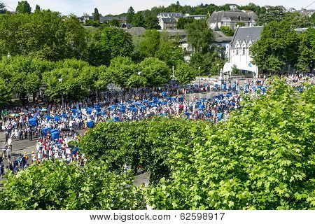 Pilgrims Come To Mass At Shrine At Lourdes