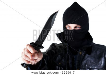 Young Criminal With Knife
