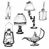 stock photo of kerosene lamp  - Set of lamps - JPG