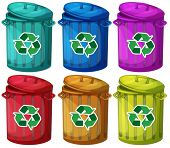 Illustration of the six trashcans for recyclable garbages on a white background