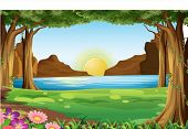 stock photo of landforms  - Illustration of a river and forest - JPG