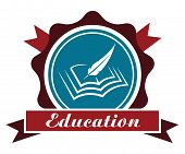 image of rosette  - Education icon or emblem with a round rosette enclosing a book and feather quill over a ribbon banner with the word  - JPG