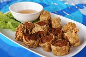 foto of crab-cakes  - deep fried crab meat roll cake Chinese style Food