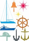 pic of wind wheel  - Set of marine and yachting symbols consisting of the yacht - JPG