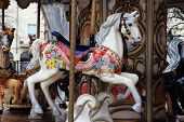 stock photo of carousel horse  - a vintage carousel horse at a festival - JPG