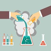 stock photo of chemical reaction  - chemical experiment - JPG