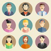 picture of brunete  - Vector set of stylish handsome characters in modern flat design - JPG