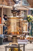 ODESSA, UKRAINE - APRIL 1: Big samovar on the square festival Humorina in Odessa on April 1, 2014. H