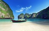 stock photo of phi phi  - morning time at  Maya bay - JPG