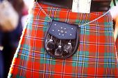 stock photo of bagpipes  - Color detail of a traditional Scottish kilt with a bag - JPG