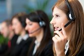 stock photo of telephone operator  - Call center operators - JPG