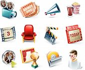 image of movie theater  - Set of the  highly detailed cartoon icons - JPG