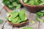 picture of mint-green  - Small Portion of fresh green Mint Leaves