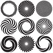stock photo of intersection  - Vector Optical Art elements forming Spiral patterns - JPG