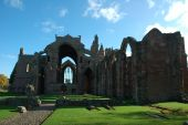 foto of embalming  - Melrose Abbey in the Scottish Borders is a beautiful and atmospheric red sandstone medieval ruin - JPG