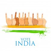 pic of minister  - illustration of hand with voting sign of India - JPG