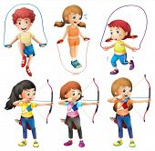 image of playmates  - Illustration of the kids with different hobbies on a white background - JPG