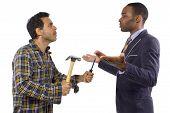 stock photo of blue-collar-worker  - Blue collar worker vs white collar professional - JPG