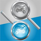 Motorcycle. Raster magnifying glass.