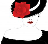 stock photo of person silhouette  - Vector silhouette of beautiful woman in a black hat with red rose - JPG