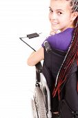 Student Woman On Wheelchair, White Background