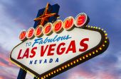 image of las vegas casino  - Illuminated Fabulous Las Vegas Sign at sunset - JPG