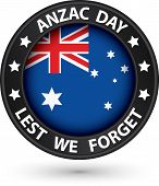 Anzac Day Lest We Forget Black Label, Vector Illustration