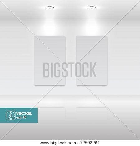 Empty White frames in art gallery. Vector