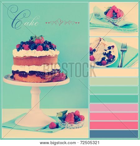 Vintage Retro Style Afternoon Tea Sponge Cake With Whipped Cream And Fresh Berries Collage Of Three