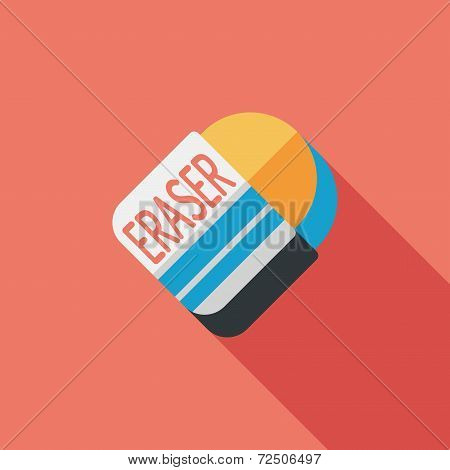 Eraser Flat Icon With Long Shadow