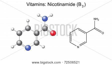 Structural Chemical Formula And Model Of Niacinamide (nicotinamide, B3) Vitamin