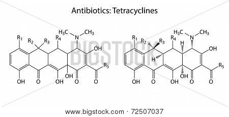 General Structural Chemical Formulas Of Antibiotic Tetracycline