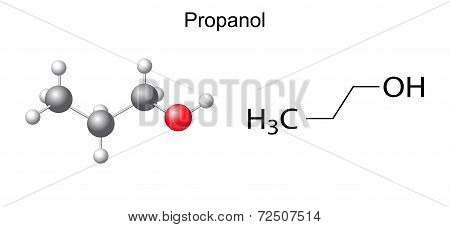 Structural Chemical Formula Of Propanol (1-propanol) Molecule