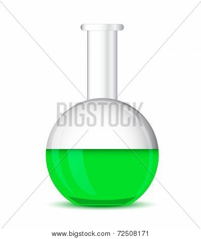 Flat Bottom Chemical Flask On A White Background - 3D Vector
