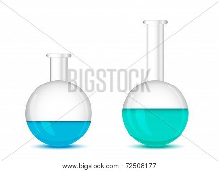 Round Bottom Chemical Flasks On A White Background - 3D Vector