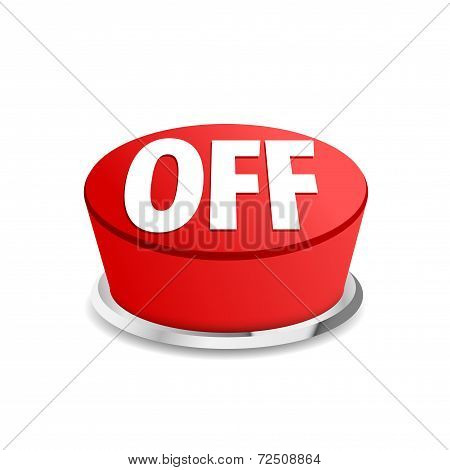 Turn Off Button Sign Template Red