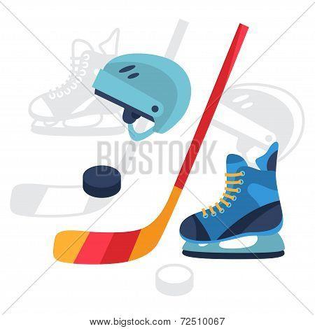 Hockey equipment icons set in flat design style.