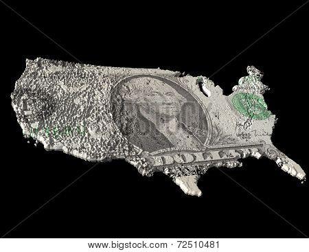 Dollar Bill on USA Map