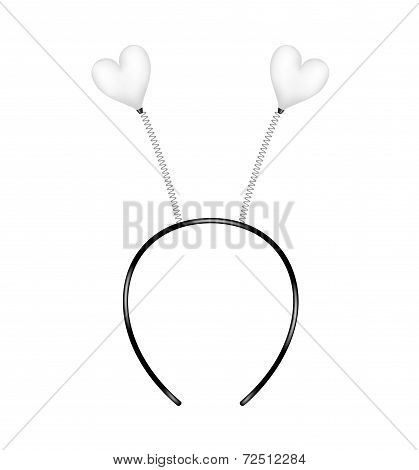 Headband with hearts in white design
