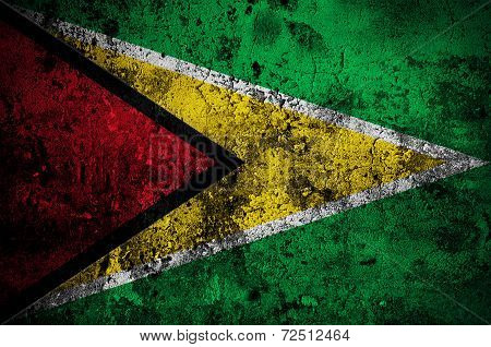 Grunge Flag Of Guyana With Capital In Georgetown